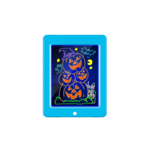 Tabla Magica desenat 3D luminoasa, transparenta, cu leduri si 4 carioci Fluorescente + 14 schite