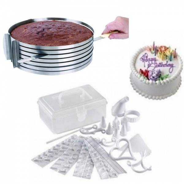 Set torturi: Feliator reglabil pt blat de tort 16-20 cm + kit decorare 100 piese
