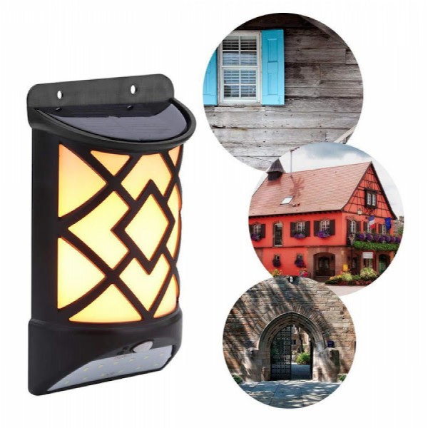 Lampa solara de perete, cu senzor de miscare, efect de flacara