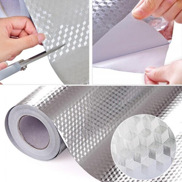 Folie protectoare autoadeziva, din aluminiu 61 x 300 cm ARGINTIU / AURIU