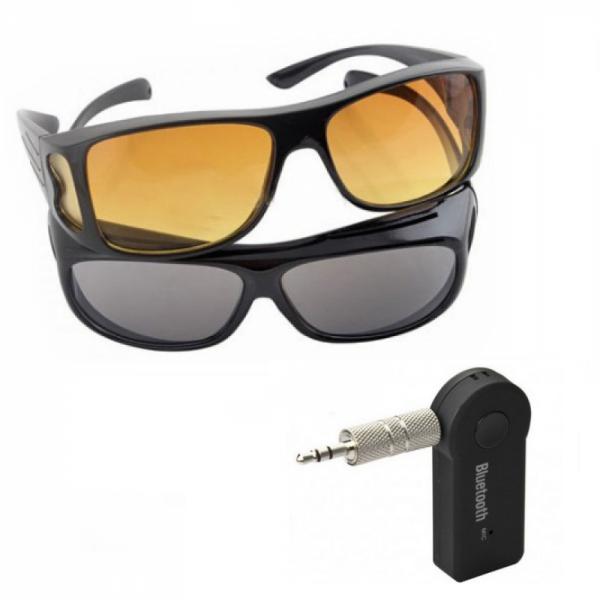Set Receptor Bluetooth auto + 2 perechi ochelari condus zi/noapte