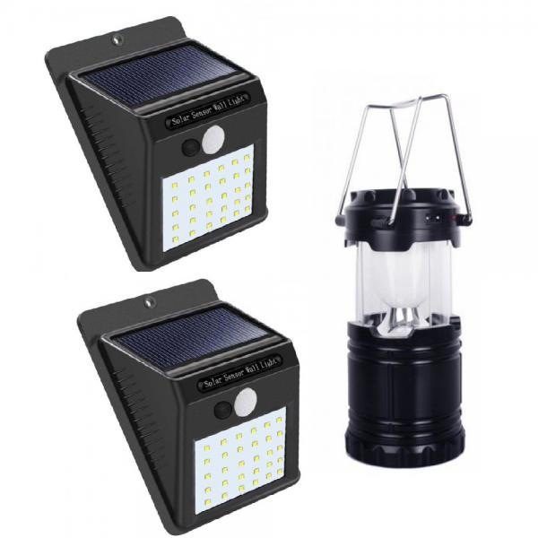 Pachet iluminat:Set 2 lampi solare +Felinar Led Panou Solar si functie de Baterie externa