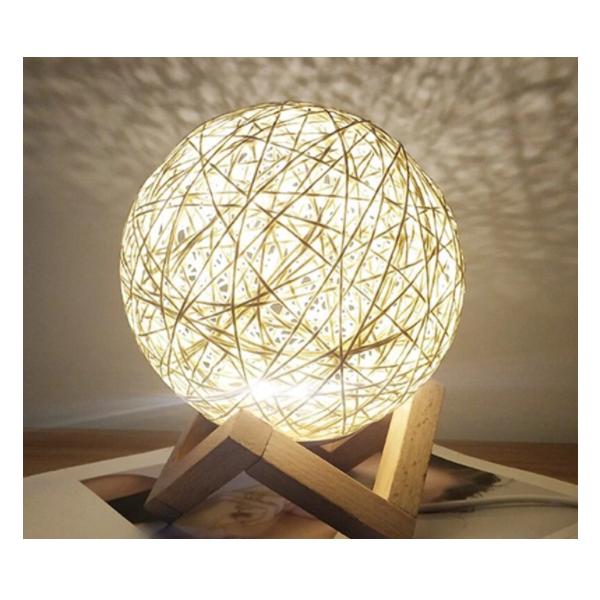 Lampa de veghe luna, cu led, lemn de ratan
