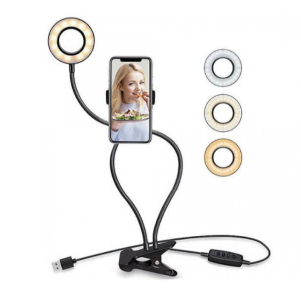 Suport selfie flexibil pentru telefon, lumini LED si clama de prindere, 3 moduri de iluminare