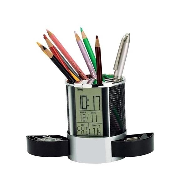 Suport Pixuri pentru Birou cu Ceas, Termometru, Calendar, Alarma