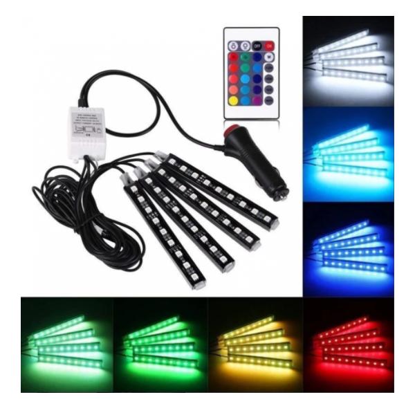 Set 4 benzi LED auto cu lumina ambientala RGB si telecomanda