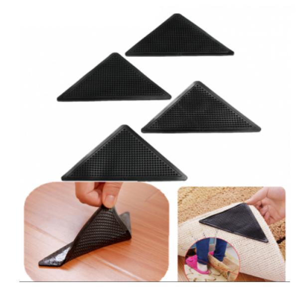 Set 4 triunghiuri adezive reutilizabile, fixeaza covorul