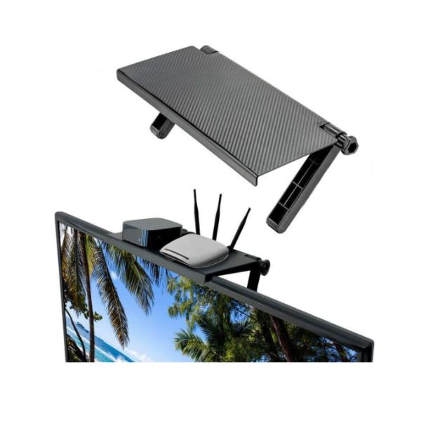 Raft reglabil pentru monitor, televizor, laptop, negru mat, plastic, 33 x 16