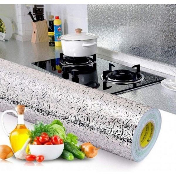 Folie de aluminiu autoadeziva, protectie bucatarie, 60 x 500 cm