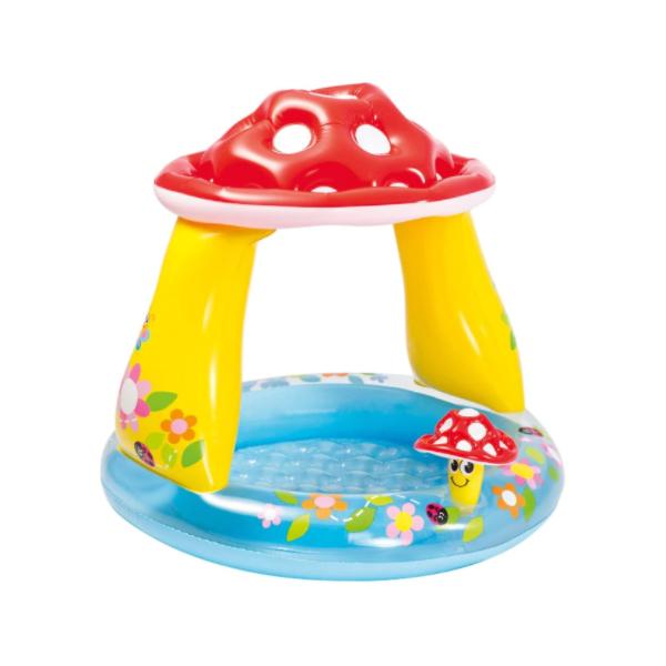 Piscina goflabila pentru copii cu protectie solara, model Ciuperca 102x89 cm