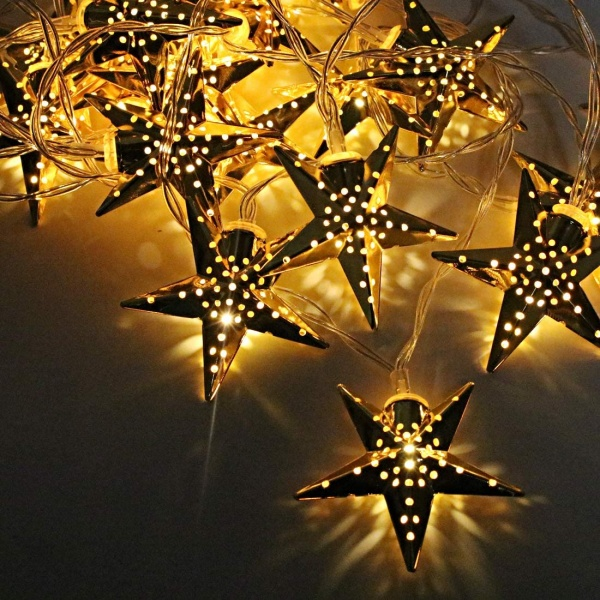 Set 2 x Instalatie stelute aurii Craciun, cu lumina alba calda, interior, total 6m - 40 LED-uri