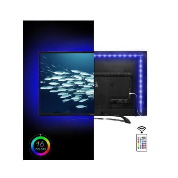 Banda LED USB 5M multicolora pentru iluminare ambientala in spatele televizorului, 16 culori