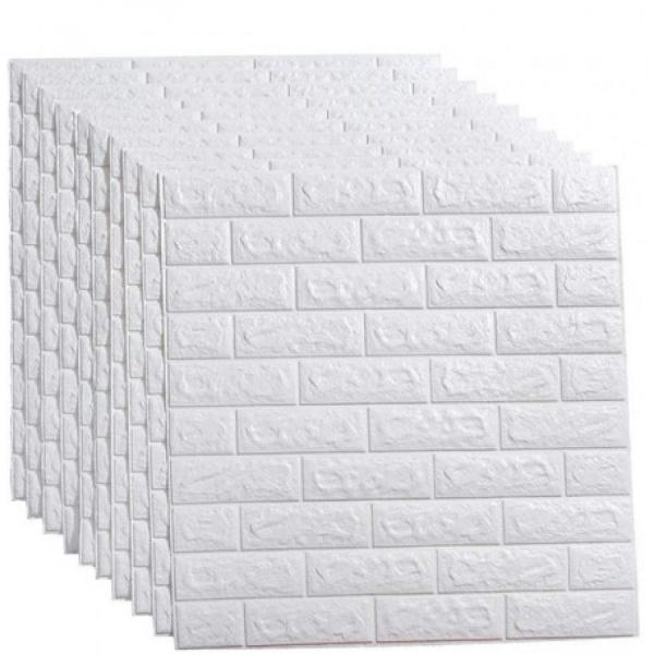 Set 10 x Placa de tapet adeziv caramizi albe 3D, 77x70 cm