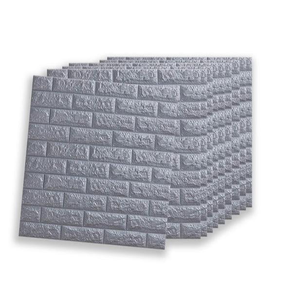 Set 10 x Tapet adeziv caramida gri, 77 x 70 cm, spuma moale 3D