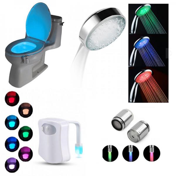 Set multicolor pentru baie: para dus, cap robinet, lampa toaleta